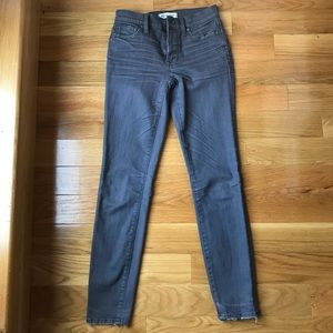 Madewell Gray High-rise Skinny Jeans with Raw Hem
